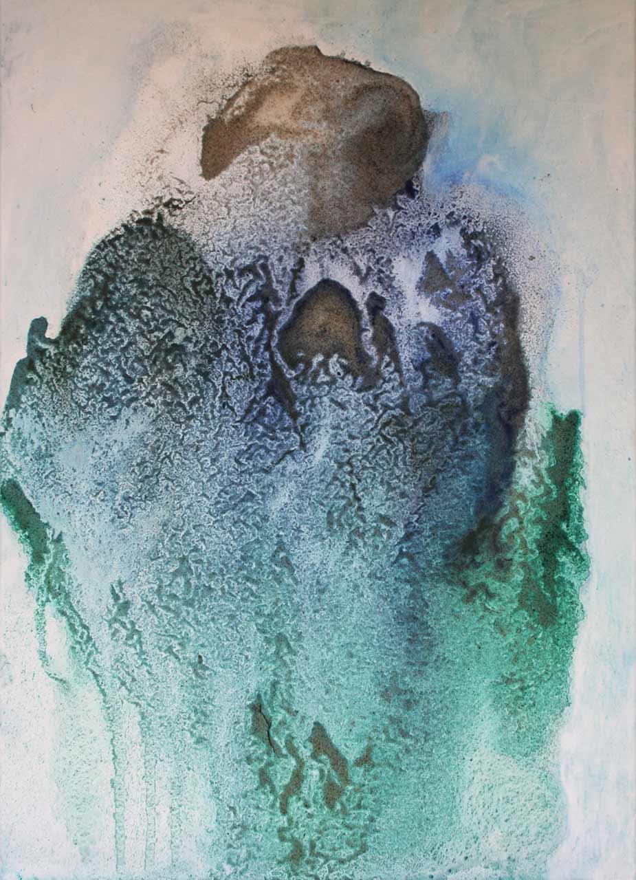 Struktur Mensch 2 In Erwartung Sand, Pigmente auf Leinwand