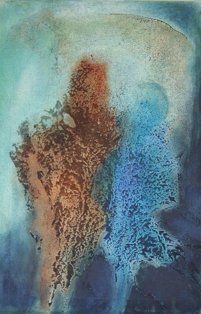 Struktur Mensch 4 Paar Sand, Pigmente auf Leinwand