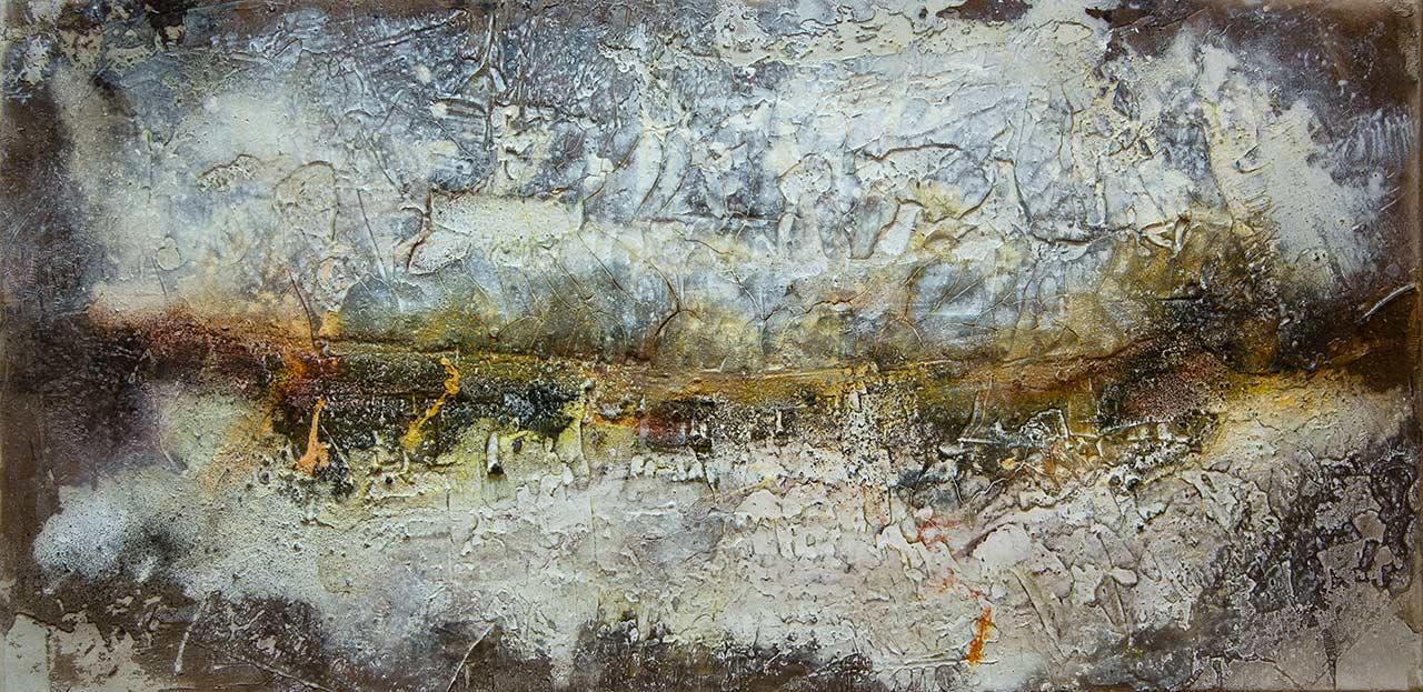 Weites Land, Struktur-Mischtechnik auf Leinwand, 2015, 80x40
