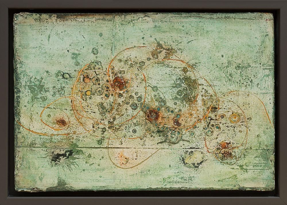 Losgelassen, Freskotechnik auf Fermacellplatte, 2016, 30x20