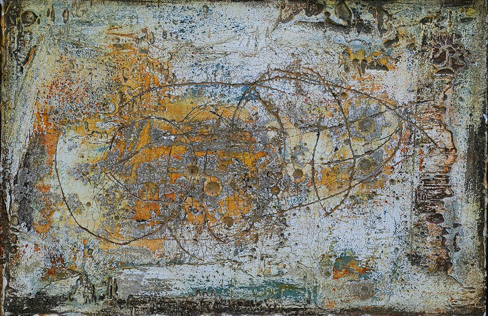 Nah und doch fern, Freskotechnik auf Fermacellplatte, 2016, 20x30
